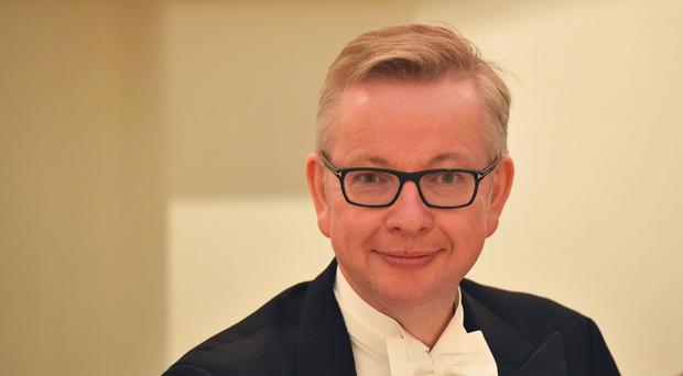 Michael Gove at a dinner for judges in London - the Justice Secretary's leadership campaign team have faced accusations of backstabbing