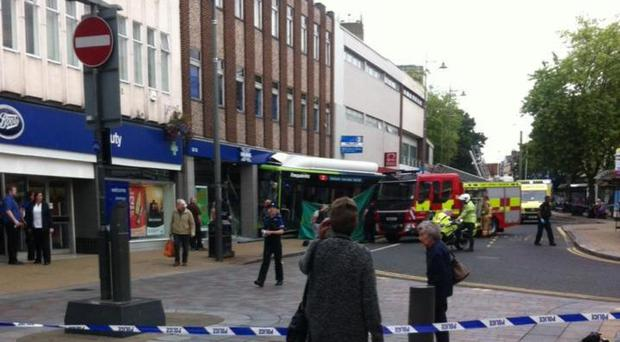 A bus crashed into a bank in Darlington (Picture: John Dodsworth/PA)