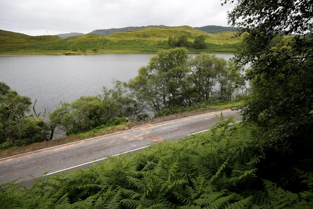 The section of the A816 road where a car crashed into Loch nan Druimnean, killing young sister and brother Leia and Seth McCorrisken