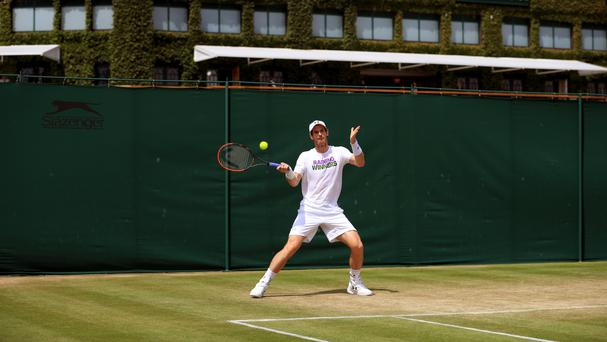 Andy Murray during a practice session before his Wimbledon semi-final