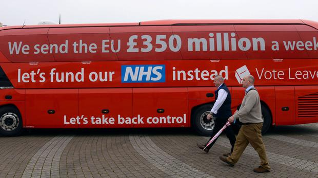 The Vote Leave campaign bus, which pledged to fund the NHS with 350 million pounds a week saved from the EU