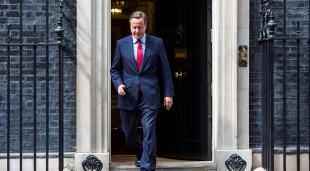 David Cameron leaving and returning to 10 Downing Street