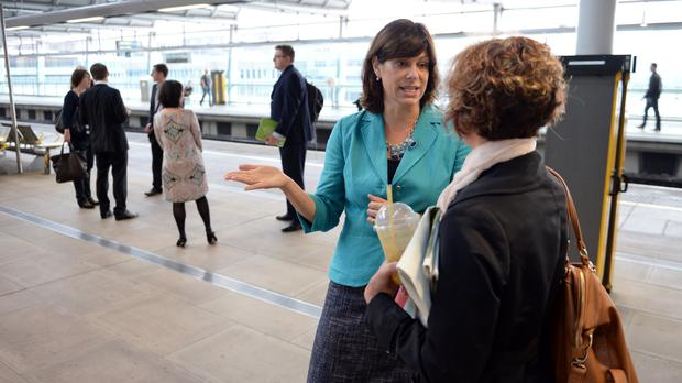 Rail Minister Claire Perry talks to a commuter at Blackfriars Station before she gave up her post