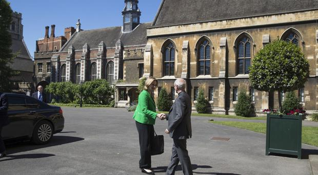 The Archbishop of Canterbury Justin Welby greets Home Secretary Amber Rudd at Lambeth Palace
