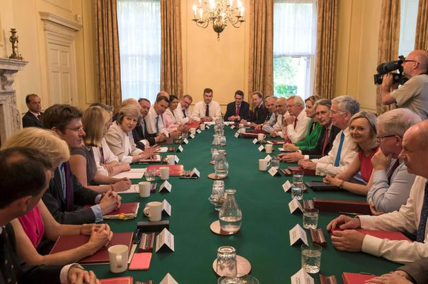 Prime Minister Theresa May chairs her first Cabinet meeting