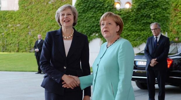 Theresa May meets German Chancellor Angela Merkel at the Chancellery in Berlin