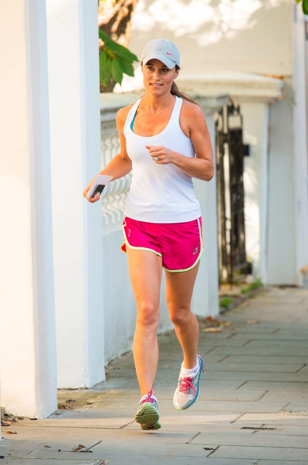 Pippa Middleton goes out for a run yesterday