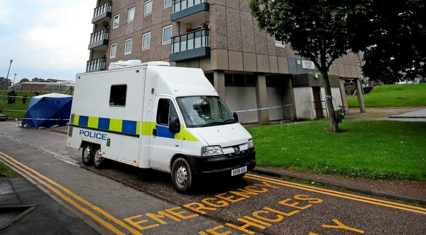 Police at the scene at Donside Court in the Tillydrone area of Aberdeen