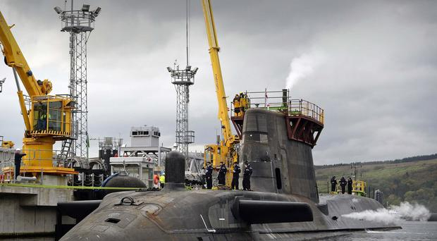 HMS Ambush alongside Valiant Jetty at Faslane.