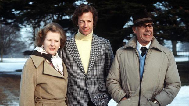 Margaret Thatcher, with her son, Mark, and husband Denis, was said to have been tainted by a whiff of corruption over the Cementation International deal