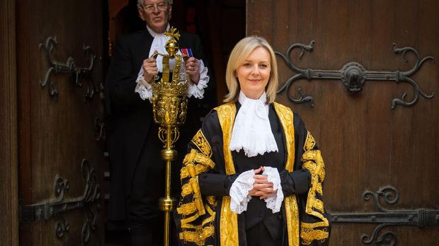 The new Lord Chancellor Liz Truss, the first woman ever to hold the role, arrives at the Royal Courts of Justice