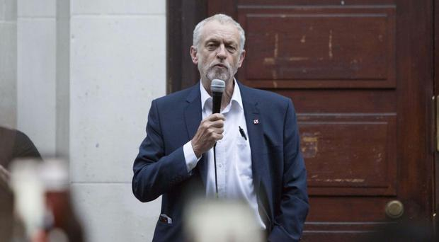 Labour leader Jeremy Corbyn speaks at a Momentum event