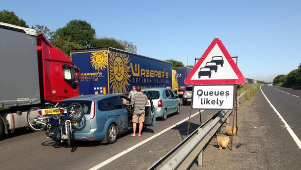 Queuing traffic on the A20 near Dover in Kent