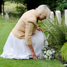 Camilla, Duchess of Cornwall, visits the Commonwealth war graves at St Nicholas' Church in Brockenhurst yesterday