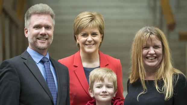 The Brain family pictured with Nicola Sturgeon