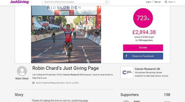 The JustGiving page of Robin Chard, a cancer survivor who died during the RideLondon-Surrey 100 cycle event