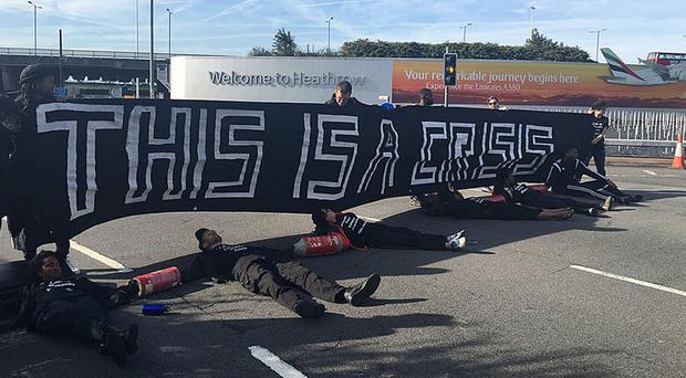 Black Lives Matter protesters lying on road heading to Heathrow Airport (@WailQ/PA Wire)