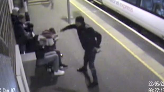 Alexander Bassey spraying acid over five friends (British Transport Police/PA)