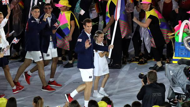 Great Britain flag bearer Andy Murray leads out Team GB during the Rio Olympic Games 2016 Opening Ceremony at the Maracana