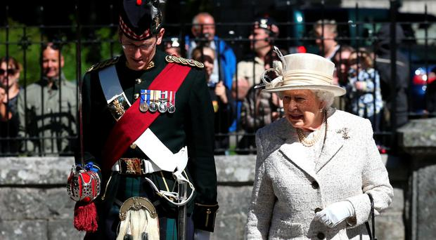 The Queen inspects the 2nd Battalion of the Royal Highland Fusiliers