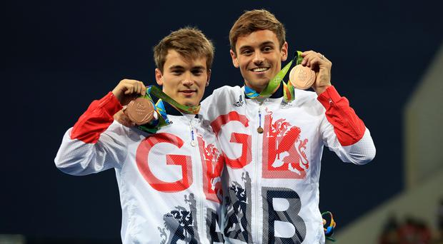 Great Britain's Tom Daley and Daniel Goodfellow with their bronze medals