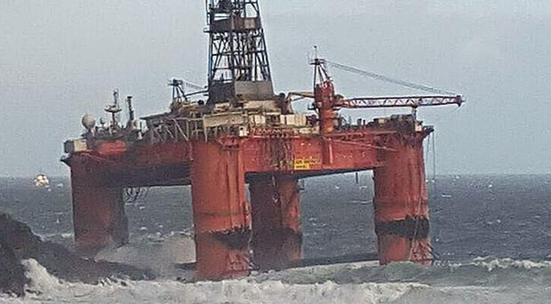 The Transocean Winner oil rig ran aground on the Isle of Lewis after high winds hampered a towing operation