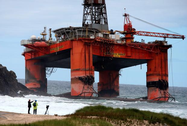 The Transocean Winner drilling rig which ran aground off the coast of the Isle of Lewis in severe weather conditions