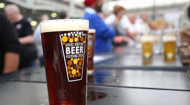 A pint of real ale on one of the bars at the Great British Beer festival 2016 at Olympia in London.
