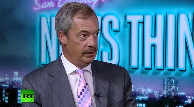 Former Ukip leader Nigel Farage and his new moustache. (Picture: Russia Today)