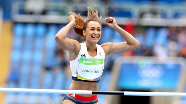 Jessica Ennis-Hill goes into the second day of the heptathlon competition in first place
