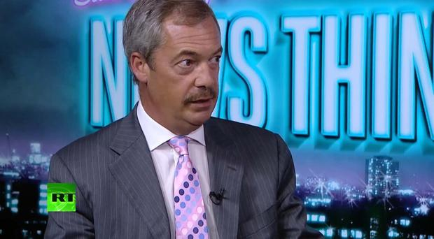 Ex-Ukip leader Nigel Farage sporting a moustache (Russia Today/PA)