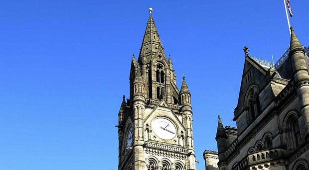 Manchester town hall, as the city improved its ranking