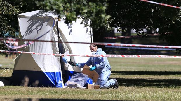 Police forensic officers in Hyde Park following the discovery of a body
