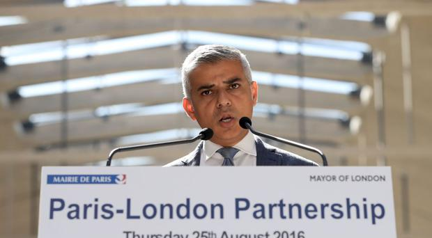 Mayor of London Sadiq Khan speaks during a press conference at Station F in Paris, France, with Mayor of Paris Anne Hidalgo.