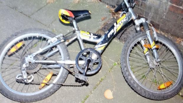 Surrey Police handout photo of the Frantic Giant bike, believed to belong the child left at the scene of a possible abduction of a boy in Redstone Hill, Redhill, Surrey. PA
