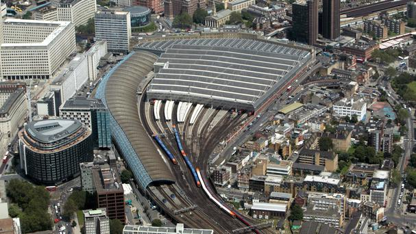 All trains in and out of Waterloo were stopped for a while after a fire was reported nearby