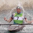 Great Britain's Joe Clarke celebrates gold in the Kayak (K1) Men's final