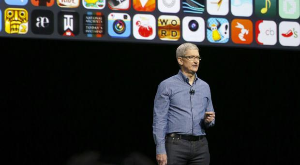Apple chief executive Tim Cook speaks at the Apple Worldwide Developer Conference in San Francisco