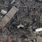 Aerial shot shows the devastation the Didcot Power Station site.