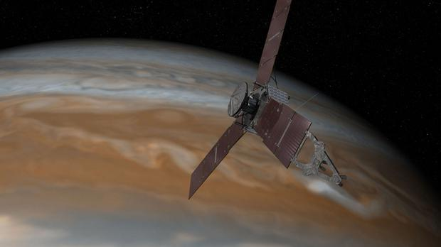 Artist's impression of the Juno spacecraft approaching Jupiter