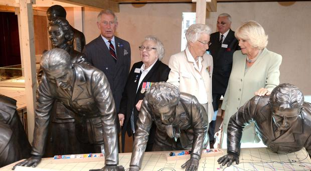 Eileen Younghusband, second left, met the Prince of Wales and Duchess of Cornwall at Bentley Priory Battle of Britain Museum