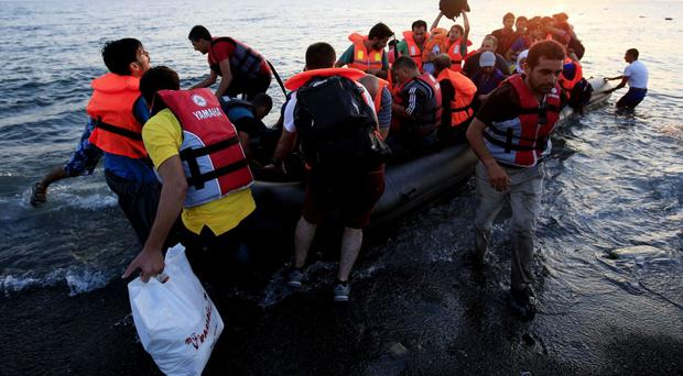 A group of migrants arriving in Greece