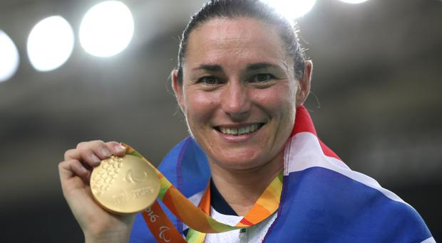 Dame Sarah Storey on the podium after winning gold in the women's C5 3,000m individual pursuit final