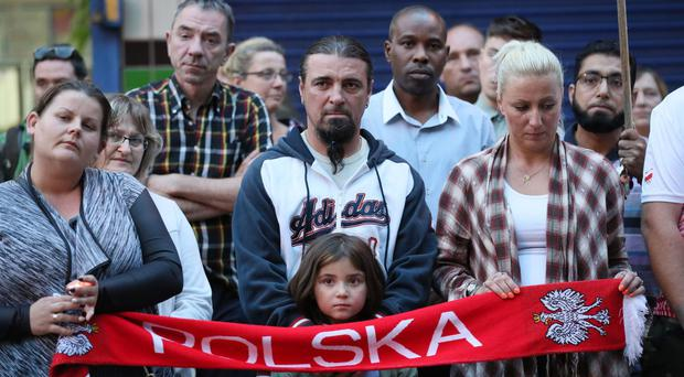 A vigil in Harlow for Arkadiusz Jozwik, killed in a possible hate crime