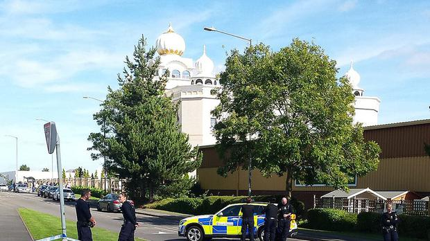 The Gurdwara Temple in Leamington Spa after it was stormed by a group of men armed with knives.