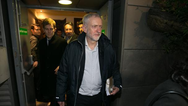 Jeremy Corbyn leaving a Stop the War coalition fundraiser