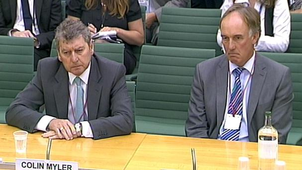 News of the World editor Colin Myler and News International head of legal affairs Tom Crone, when they appeared before the Commons Culture, Media and Sport committee.