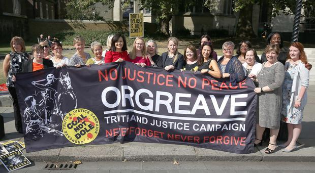 MPs and campaigners attend a rally for the Orgreave Truth and Justice Campaign outside Parliament