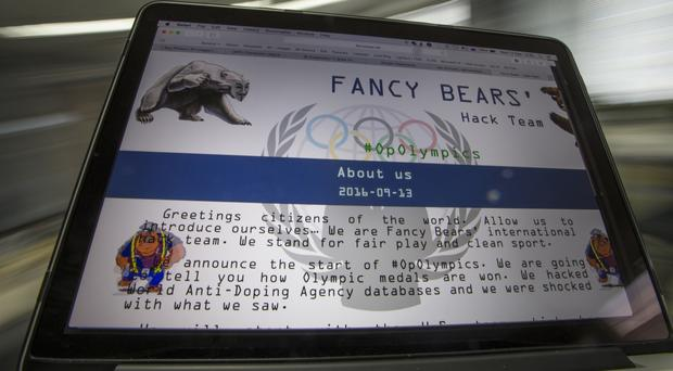 A screenshot of the Fancy Bears website which leaked medical information about Olympic athletes (AP)