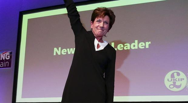 Diane James waves after being confirmed as new Ukip leader at party conference